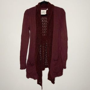 Anthro Angel Of The North Burgundy Cardigan Size S